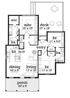 Cottage Style House Plan - 3 Beds 2.5 Baths 1086 Sq/Ft Plan #45-366 Floor Plan - Main Floor Plan - Houseplans.com