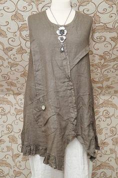 Gorgeous Mocha Taupe Linen Dress Tunic Italian Lagenlook Layering Top So Quirky   eBay