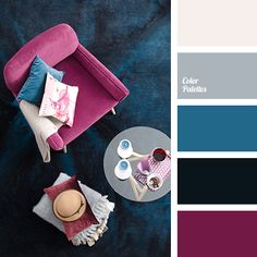 bright blue, bright-blue color, burgundy, cold shades, colors for apartment design, dark crimson, dark cyan, dark purple, design palette, light gray, palette for repair of an apartment, shades of gray, silver.