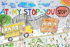 Springs Ranch Elementary School kindergartner Joshua Harris created a safety poster, asking car drivers to respect school bus-mounted stop signs. After submitting it to a Falcon School District 49 contest, it was selected as the best safety poster from an elementary school student. For his winning entry, the district's transportation team gave the six-year-old a school pizza party May 20, as well as a box full of art supplies – one of his favorite activities.