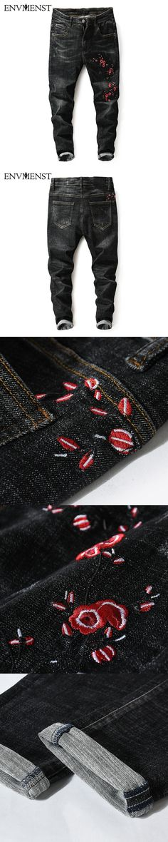 Envmenst 2017 High Quality Men's Slim Pencil Jeans Flower Embroidery Street Fashion Cool Denim Pant for Youth Designer