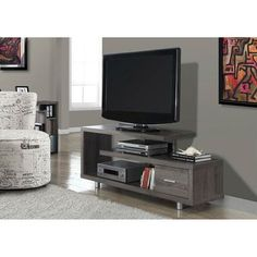 Monarch Specialties Dark Taupe TV Cabinet at Lowe's. Enhance the look of your living space with the contemporary styling of this art-deco inspired TV stand. Constructed with thick panels in a dark taupe 60 Tv Stand, Tv Stand With Storage, Console Tv, Tv Stand Furniture, Living Room Furniture, Furniture Outlet, Online Furniture, Furniture Decor, Cool Tv Stands