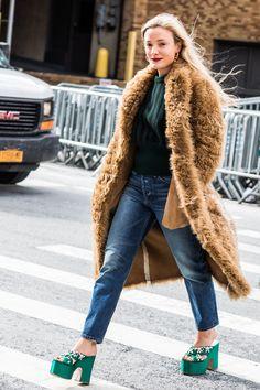 Street style at Fashion Week autumn-winter 2017-2018 New York camel coat