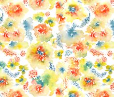 Watercolor Flower, Spring 2013 Collection, No. 2 fabric by susan_magdangal on Spoonflower - custom fabric