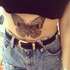 Butterfly tattoo on the stomach of this girl. #tattoo #tattoos #ink