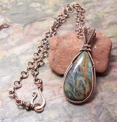 Plasma Agate Wire Wrapped Pendant with handmade chain and closure--FREE SHIPPING by FearlessCreationsbyJ on Etsy