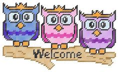 Owl Plastic Canvas Welcome Sign Pattern by PCDesignz on Etsy, $3.00
