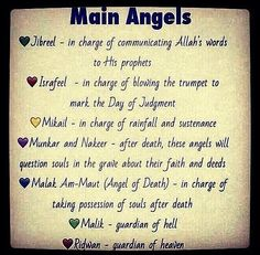 Main angels in islam and their duties