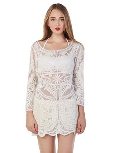 White Crochet Lace Long Sleeve Dress with Mesh Panel