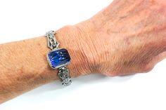 Vintage Edwardian / Art Deco Rhodium Silver Filigree & Blue Glass Bracelet, Paste, Wedding Bridal