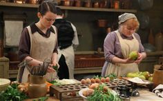 Mrs Patmore(rt)&Daisy in the Downton kitchen.Since the drama began 3 yrs ago,Lisa Heathcote has been its food stylist,preparing every dish shown in the series,now set in the early 1920s.And, as the nation gears up for tomorrow night's 2-hour Christmas special, the real life Mrs Patmore has invited me to her house to try my hand at Christmas dinner, Downton-style. http://www.telegraph.co.uk/culture/tvandradio/downton-abbey/10535269/Cooking-up-a-festive-feast-for-Downton-Abbey.html