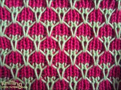 This stitch is knitted in a multiple of 4 stitches plus 4 and begins with a wrong side row.
