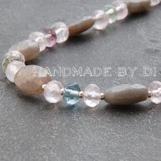 labradorite fluorite and rose quartz necklace close up