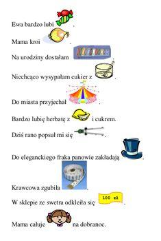 Zdania z obrazkami zawierającymi głoskę [c] w nagłosie – w załączeniu plik do wydruku. To jedno z bardziej lubianych przez… Polish Language, Speech Room, Speech Therapy, Classroom, Education, Logos, School, Montessori, Speech Language Therapy