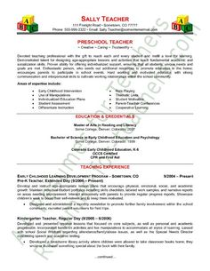 preschool teacher resume sample page 1