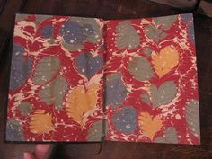 """Addison's Rare Books & Bindery; fine bindings and restorations for antiquarian and collectible books. Endpaper """"Feuille de chene"""" motif by Flavio Aquilina."""