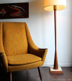 DANISH MID CENTURY MODERN TEAK TAPERED FLOOR LAMP WITH MULTITONE TILED BASE ATTRIBUTED TO MARTZ - SOLD