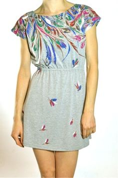 Grey Flustered Dress: Love how special the feather print makes this dress.