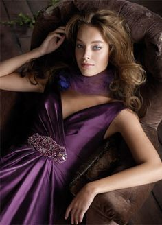 silky taffeta floor length bridesmaid gown with ruched V-neck bodice, plum beading at natural waist, A-line skirt with side pockets, sweep train.  comes in espresso. can change the beading on the bodice to browns as well.