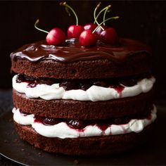 "Black Forest Gateau - look, pretty much just do a search for ""Black Forest Cake"" or ""cherry cake"" and I'm interested in all of it. Just some kind of combo of cherries and chocolate! Nake Cake, Cake Recipes, Dessert Recipes, Bon Dessert, Dessert Food, Gateaux Cake, Bbc Good Food Recipes, Cookies, Cream Cake"