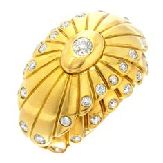 CARTIER A Gold and Diamond Double Tier Flower Petal Ring