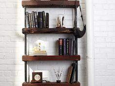 Industrial Rustic Bookshelf. Love this!