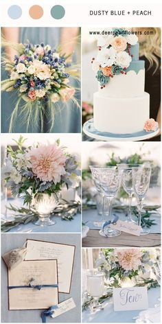 Dusty Blue and Peach wedding colors inspired