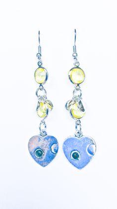 http://www.tibadesign.com Boucles d'oreilles perles jaunes et coeur argent