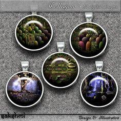 Fraktalkunst - Set 1 – Digital Design - 20 Buttons zum Ausdrucken und das Originalbild für eigene Kreationen. 300 DPI
