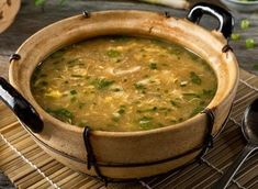 """Even better than takeout, this homemade egg drop soup is full of protein, good fats and your favorite veggies. We aren't """"yolking"""" when we say this recipe will become a favorite in your home. Soup Recipes, Diet Recipes, Cooking Recipes, Vegetarian Eggs, Vegetarian Recipes, Nutrients In Eggs, Homemade Egg Drop Soup, Health Benefits Of Eggs, Dieting Foods"""