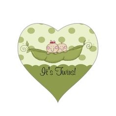 Sweet Little Pea Baby Twins Heart Sticker