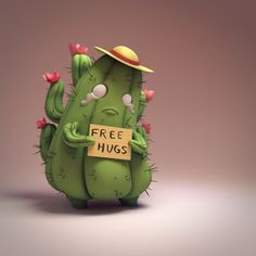 please hug this small sad cactus somehow so my heart hurts less 3d Character, Character Concept, Concept Art, Vinyl Toys, Vinyl Art, Cute Illustration, Character Illustration, 3d Figures, 3d Fantasy