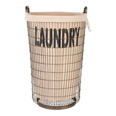 Aidan Gray Wire Laundry Basket with Linen