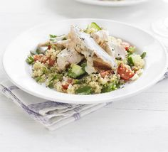 Low FODMAP Recipes -Chargrilled turkey with quinoa tabbouleh & tahini dressing Bbc Good Food Recipes, New Recipes, Cooking Recipes, Favorite Recipes, Healthy Recipes, Recipies, Salmon Fish Cakes, Quinoa Tabbouleh, Tahini Dressing