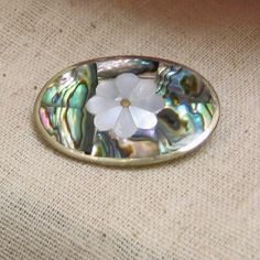1980s Abalone Mother of Pearl Flower Design Brooch by PandPF