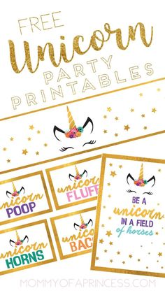 Unicorn Party Ideas and free printables! Great for a little girl birthday party.