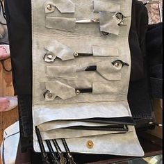 Marisa DiMarcantonio added a photo of their purchase Grey Leather, Leather Handle, Chef Knife Case, Case Knives, Small Letters, Grad Gifts, Leather Bags Handmade, Gifts For Him, Cooking School