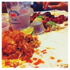 Eating shrimp and crawfish at The Boiling Crab