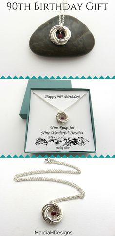 90th Birthday Gift | Birthstone Necklace | Birthday Gift Ideas Handmade Jewelry by MarciaHDesigns | Sterling Silver Jewelry
