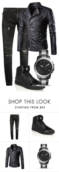 """Untitled #30"" by michelle-589 on Polyvore featuring Balmain, Versace, FOSSIL, men's fashion and menswear"