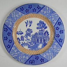 BLUE AND BROWN TWO COLOR IRONSTONE TRANSFERWARE PLATE Alfred Meakin Manchu Stoke Upon Trent OFFERING ONE OF THE LARGEST TRANSFERWARE COLLECTIONS ON THE WEB! For consideration is this stunning antique