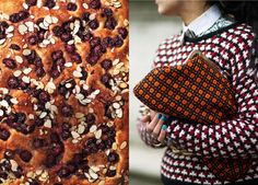 something really beautiful and interesting and these food & fashion mash-ups from bon apetit. (this recipe is for cherry-almond focaccia)