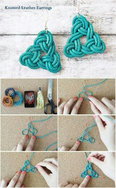 Make handmade earrings using a surprising range of low cost and no cost supplies using these free craft tutorials and projects. Make handmade earrings using a surprising range of low cost and no cost supplies using these free craft tutorials and projects. Jewelry Knots, Macrame Jewelry, Jewelry Crafts, Jewelry Ideas, Agate Jewelry, Diy Macrame Earrings, Beaded Crafts, Jewelry Supplies, Beaded Earrings