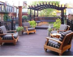 Arched Pergola with built-in bench seating