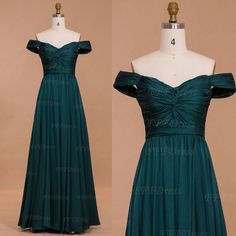 Dark green Off the shoulder long prom dresses