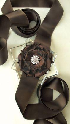 Chocolate Rose Satin Sash