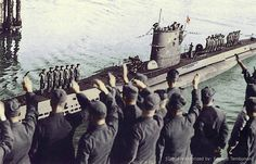 """""""U-47 amid cheering crowds, after returning from Scapa Flow, October 1939"""" The U-47 was a Type VIIB U-boat of German Kriegsmarine during World War II. She was laid down on 25 February 1937 at Friedrich Krupp Germaniawerft in Kiel as yard number 582 and went into service on 17 December 1938 under the command of Günther Prien."""