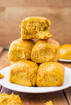 """Honey Butter Pumpkin Dinner Rolls..""""In under 2 hours, you will have the intoxicating aroma of pumpkin, spices, honey and bread wafting throughout your home"""" 