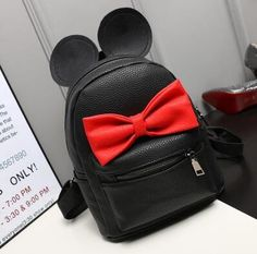 SALE $30.99+ - Disney Mickey Minnie Mouse Ears Bow Medium Backpack- 3 Color Combinations -READY TO SHIP OPTION
