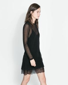 Image 3 of DOUBLE LAYER LINGERIE STYLE AND MESH DRESS from Zara